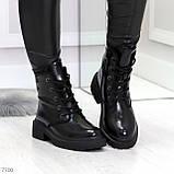 Черные лаковые зимние женские ботинки в классическом стиле, фото 7