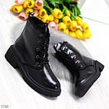 Черные лаковые зимние женские ботинки в классическом стиле, фото 8