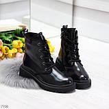 Черные лаковые зимние женские ботинки в классическом стиле, фото 9