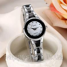 Жіночий кварцевий годинник на сталевому браслеті LVPAI (Сріблясто-чорний)