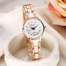 Жіночий кварцевий годинник на сталевому браслеті LVPAI (Золотисто-білий)