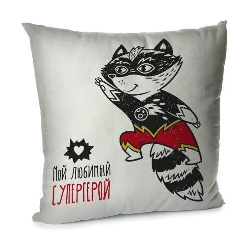 Подушка диванная с бархата Мой любимый супергерой 45x45 см (45BP_18L048)