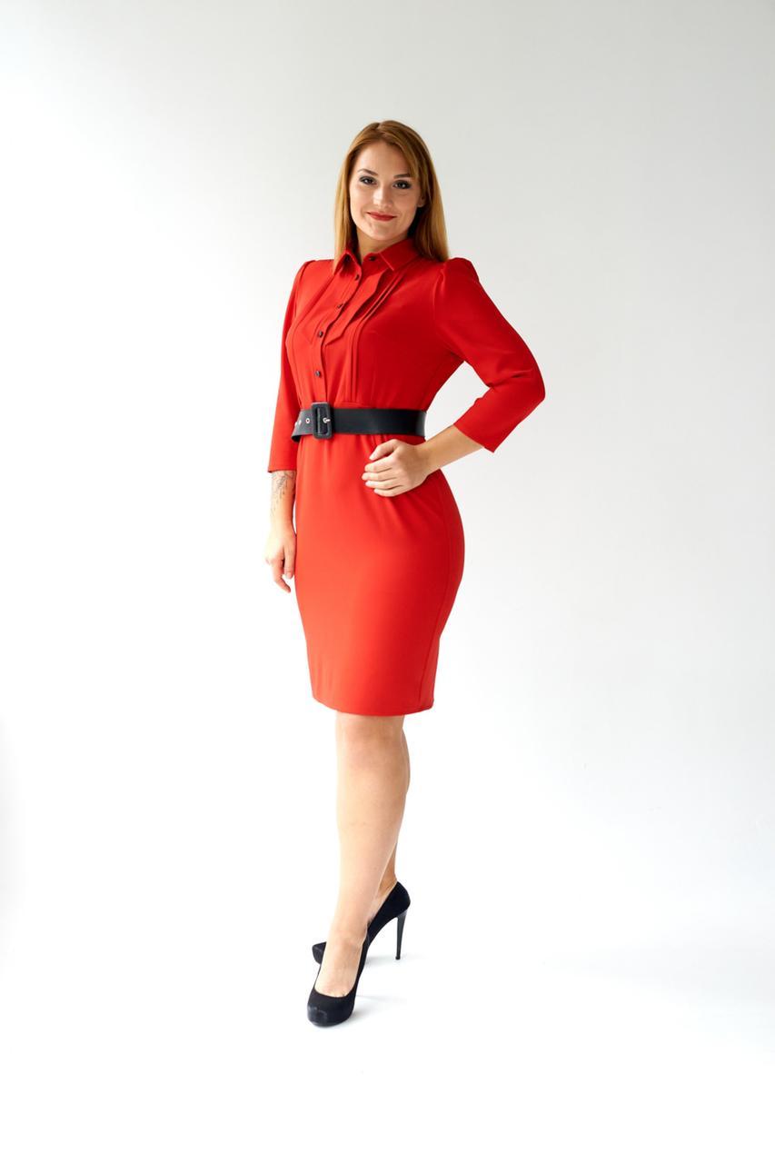 Жіноче ділове плаття сорочка міді 48,50,52,54 розмір Червоний