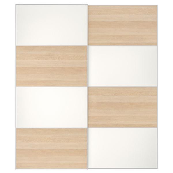МЕХАМН Пара розсувних дверцят - під білений дуб/білий - IKEA