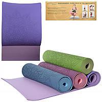 Йогамат коврик для фитнеса и йоги Profi TPE 183-61 см двухцветный