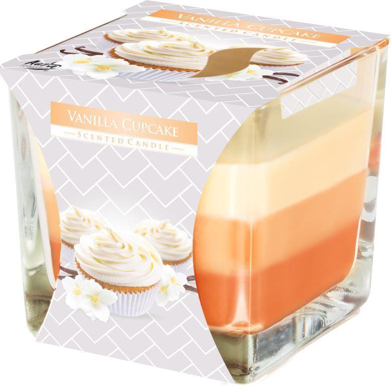 Ароматическая трехцветная свеча в стекле BISPOL №SNK80-202 - Ванильное печенье