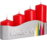 Декоративные свечи цилиндры BISPOL №SW50/4-030 - Красные