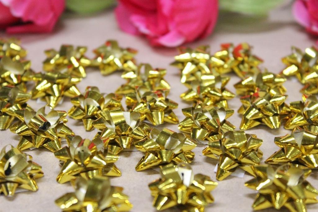 Подарочный бант №1 50шт/уп Ф28мм металл золото