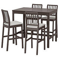 ЕКЕДАЛЕН / ЕКЕДАЛЕН Барний стіл і 4 барні стільці - темно-коричневий/ОРРСТА світло-сірий - IKEA