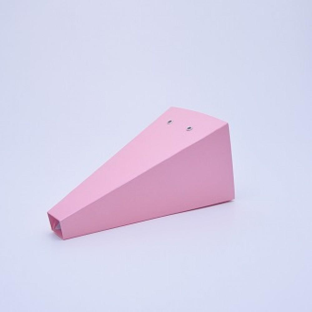 Коробка конус 13*23*3см  розовый лен блеск