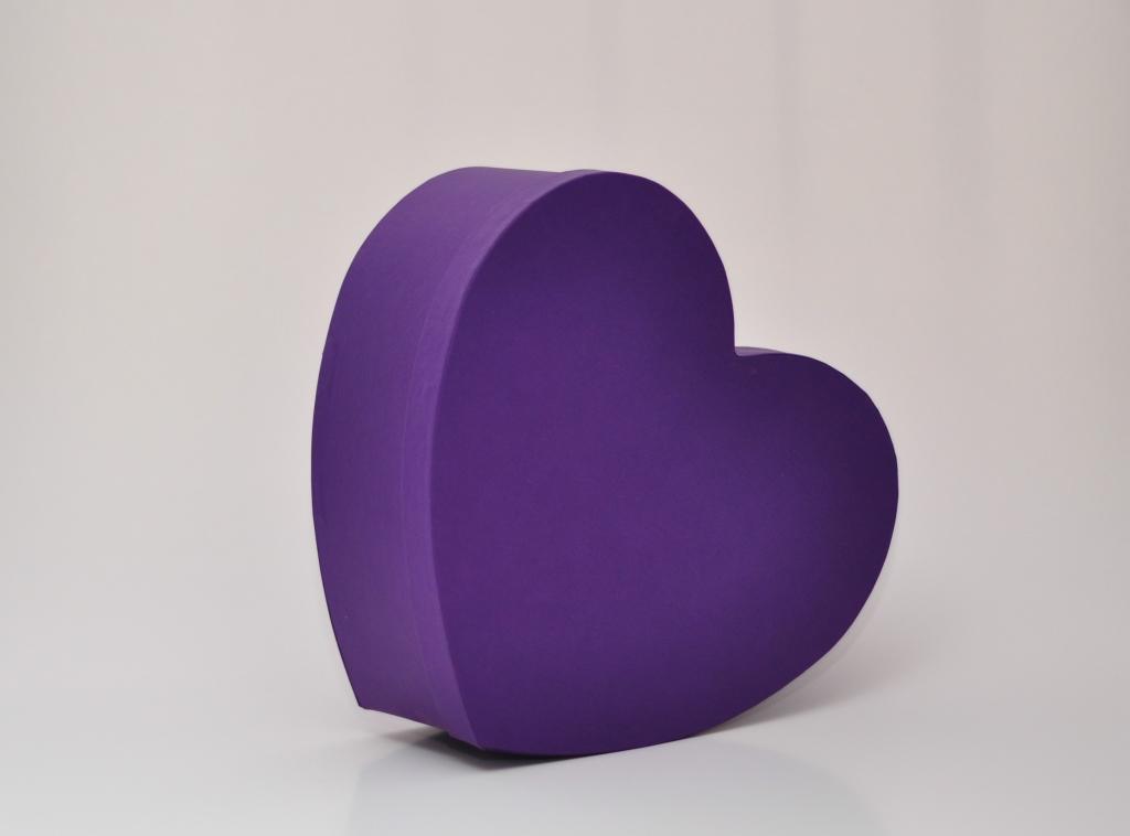 Коробка сердце 30*25*12см фиолетовая
