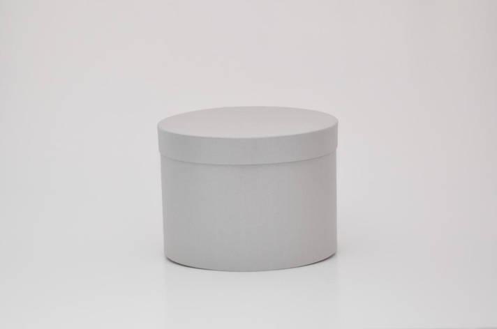 Круглая коробка с крышкой h17*d35см серебро лен блеск, фото 2