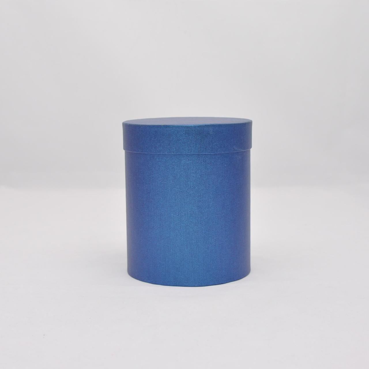 Круглая коробка с крышкой h15*d17см синий лен