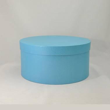 Круглая коробка с крышкой h22*d12,5см голубой лен блеск, фото 2