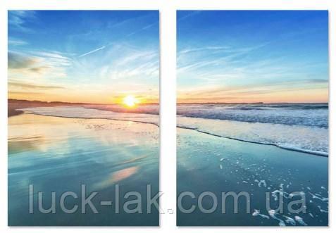 Алмазная вышивка модульная закат, море, 2 картины размер каждой 20х30 см