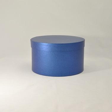 Круглая коробка с крышкой h15*d29,5см синий лен
