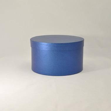 Круглая коробка с крышкой h15*d29,5см синий лен, фото 2