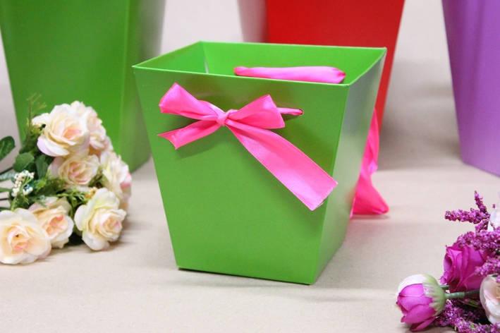 Коробка для цветов трапеция малая УП 10*15*15см 10шт/уп - Зеленая, фото 2