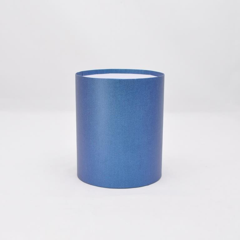 Круглая коробка без крышки h20*d20см лен синий блеск
