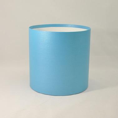 Круглая коробка без крышки h15*d20см синяя блеск