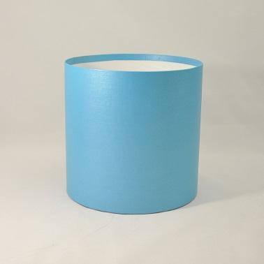 Круглая коробка без крышки h15*d20см синяя блеск, фото 2