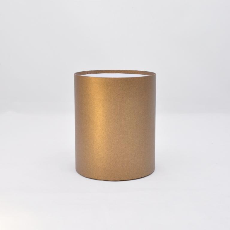 Круглая коробка без крышки h17*d15см лен бронза блеск