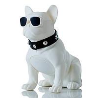 Беспроводная блютуз колонка в виде собаки (бульдога) белый, переносная музыкальная bluetooth