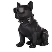 Портативная блютуз колонка в виде собаки (бульдога) черная, беспроводная переносная акустика к телефону