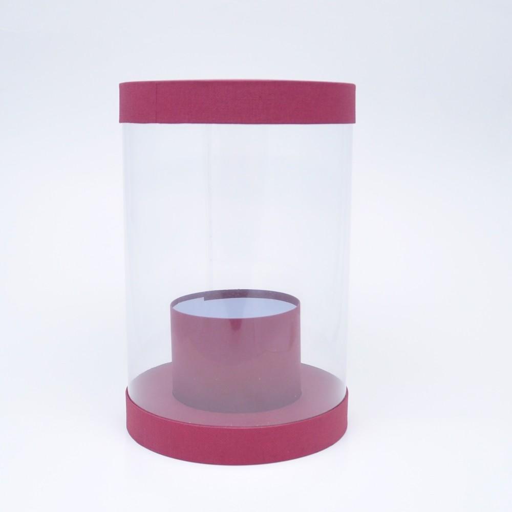 Коробка аквариум h30*d20 бордовая