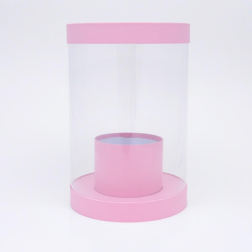 Коробка аквариум h30*d20 розовая