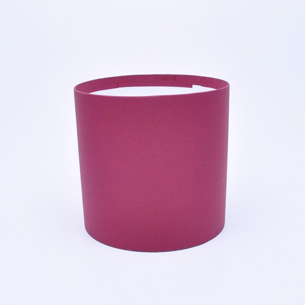 Круглая коробка без крышки h17*d15см ткань бордовая