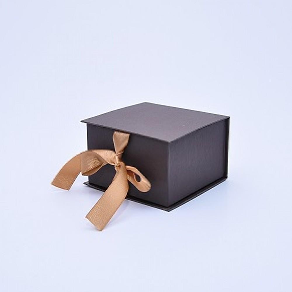 Коробка Табакерка на лентах 12*12*7,5см Бронзовая