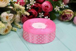 Атласная лента в горошек 2,5см*25ярдов №8039 - Розовая