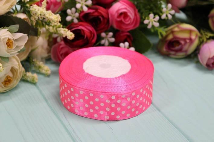 Атласная лента в горошек 2,5см*25ярдов №8040 - Ярко-розовая, фото 2