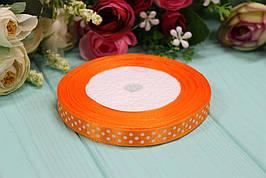 Атласная лента в горошек 1см*25ярдов №8020 - Оранжевая