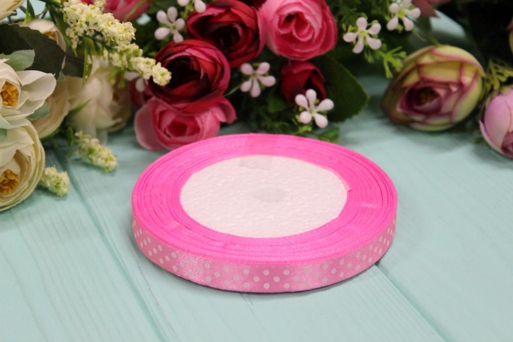 Атласная лента в горошек 1см*25ярдов №8039 - Розовая