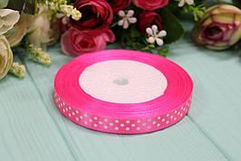 Атласная лента в горошек 1см*25ярдов №8040 - Ярко-розовая