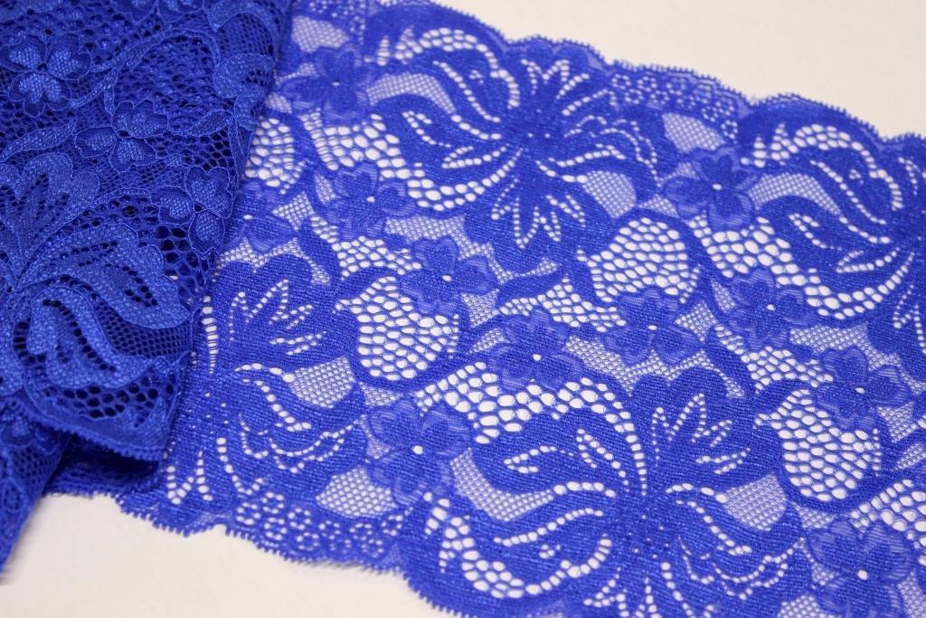 Кружево Цветок стрейч 18см*5м - Синее
