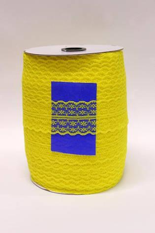 Кружево сетка отрывное 5см*300ярд - Лимон, фото 2