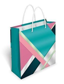 Бумажный подарочный пакет маленький квадрат 17.1*16.6*6.6см №35,057 СП