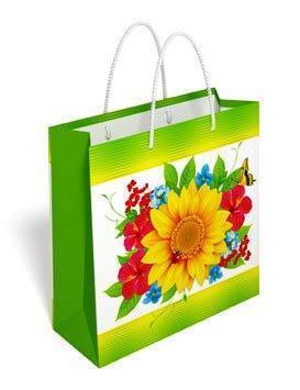Бумажный подарочный пакет маленький квадрат 17.1*16.6*6.6см №35,017 СП