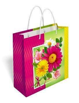 Бумажный подарочный пакет маленький квадрат 17.1*16.6*6.6см №35,021 СП, фото 2