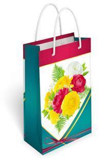 Бумажный подарочный пакет маленький вертикальный 17.7*10.9*5.6см №36,169 СП