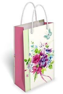 Бумажный подарочный пакет маленький вертикальный 17.7*10.9*5.6см №36,170 СП