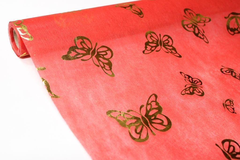 Флизелин с металлизированной бабочкой - Красный