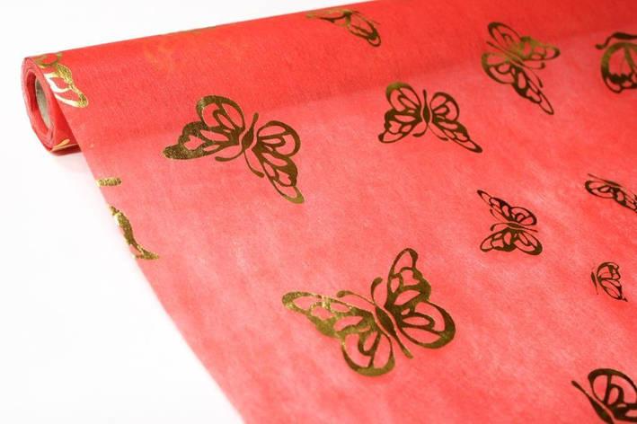 Флизелин с металлизированной бабочкой - Красный, фото 2