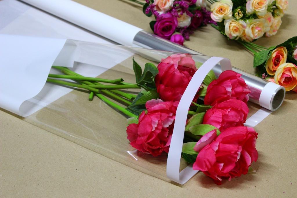 Пленка тонировка для цветов с прозрачным окном 70см*10м Белая