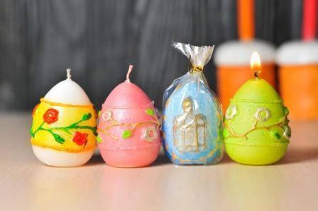 Декоративные пасхальные свечи 5шт/уп - Яйцо рельеф Цветы, фото 2