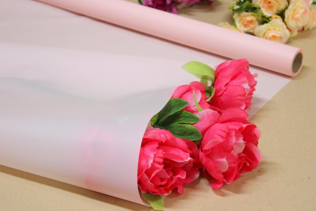 Калька для цветов - матовая флористическая пленка 70см*10м Розовая пудра
