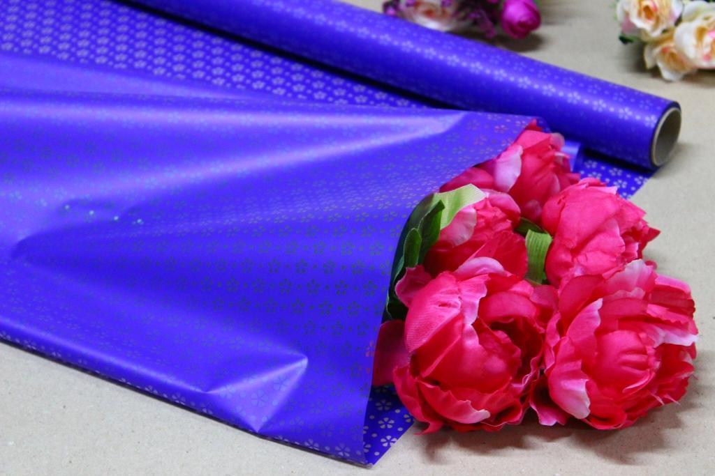 Калька для цветов - матовая флористическая пленка 70см*10м Цветочек синий